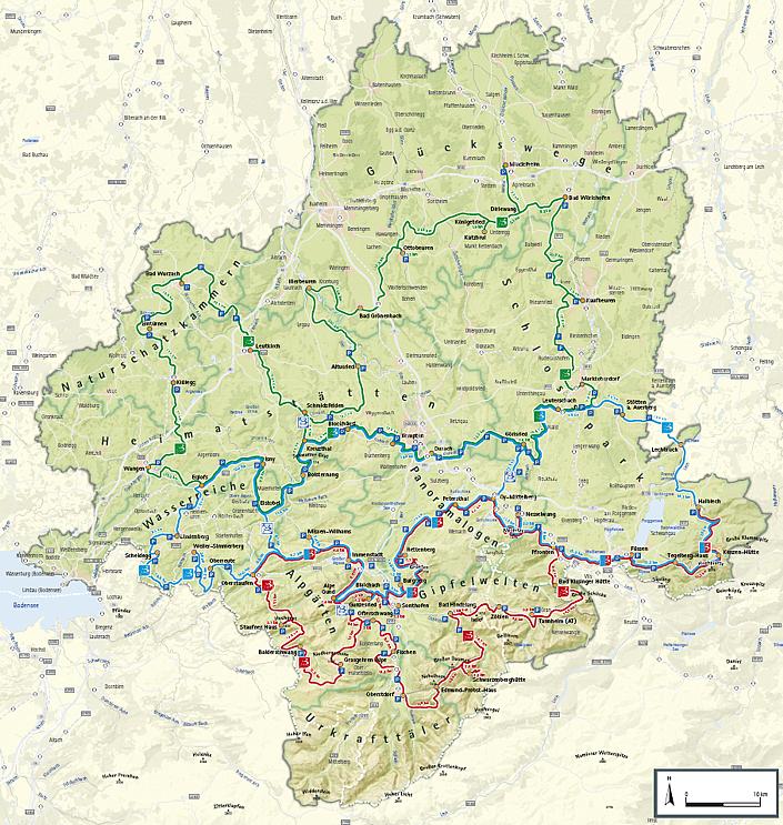 Karte Wandertrilogie Allgäu